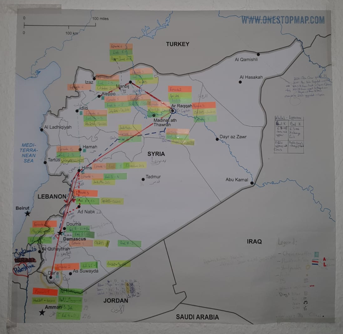Map of Syria with markings.